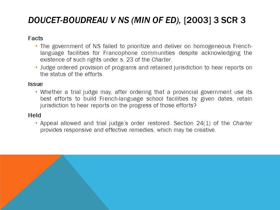 Doucet-Boudreau v NS (Min of Ed), [2003] 3 SCR 3